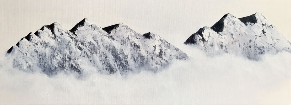 flying mountains, 2017,  huile sur toile, 30 x 80 cm CHF. 600.-