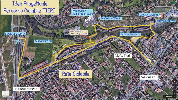 La proposta di percorso ciclabile del Comitato di Zona Via Vincenzo Tieri