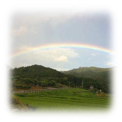 田染荘(たしぶのしょう)に架かる虹