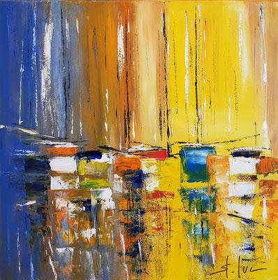 La Régate - Huile sur toile - Format 50 x 50 cm - Actuellement en exposition à l'extérieur