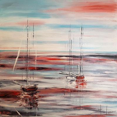 Les Aubes Rouges - Huile sur toile - Format 80 x 80 cm - Actuellement non disponible à la vente
