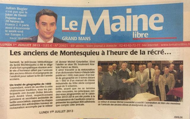 LE MAINE LIBRE - ATELIER DE RELIURE Gourdelier LE MANS -Droits réservés