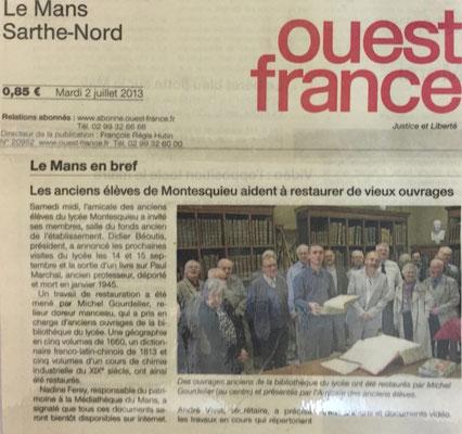 OUEST-FRANCE - RELIURE GOURDELIER LE MANS