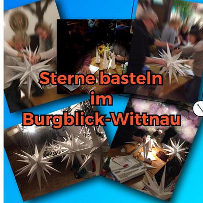 Sterne basteln in der Gaststätte Burgblick