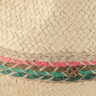 "Hut ""Copa Cabana"", natural/rosa/türkis, 100% Paper, Gr 57cm mit Band grössenverstellbar, 34,95€"