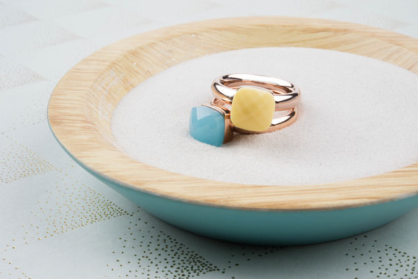 Ring rosegold, Gr 50-60, aqua opal, yellow ,  49,90€, ab 2 Stück mixed colours 44,90€