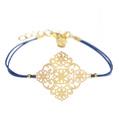 "Bracelet "" Ornament"" navy blue in silber od rosegold (sold out)14€"