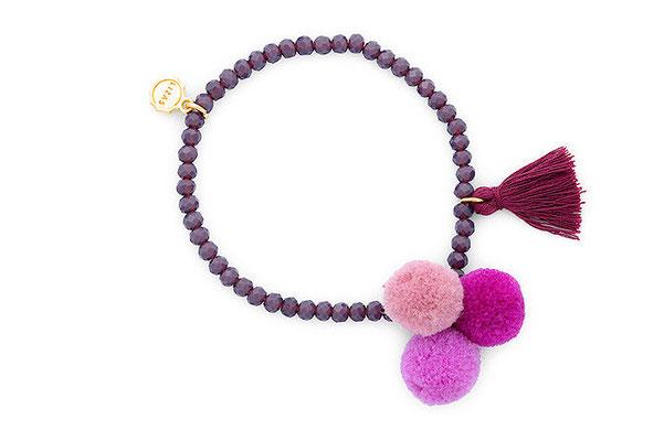 "Armband "" Triple Pom Pom"" lila 16€"