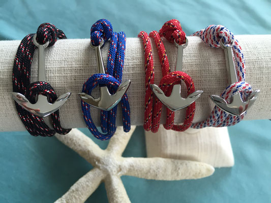 """Unisex Armband """"Anchor"""" silber, blue, white, red und black 19€"""