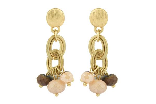 "Ohrringe ""Chain"", gold/braun/nude, 18€"