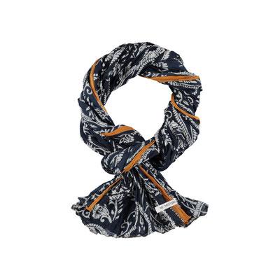 "Schal ""Paisley"" marine/senf, 100% Cotton, 70x180cm, 19,95€"