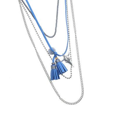 "Kette ""Buffalo in Layers"" silver/blue 28€"