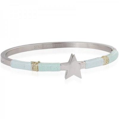 "Armreifen ""Augenstern"" silver light blue/türkis 22€"