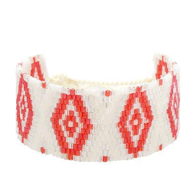 "Armband ""Beadslove"" white/coral 15€"