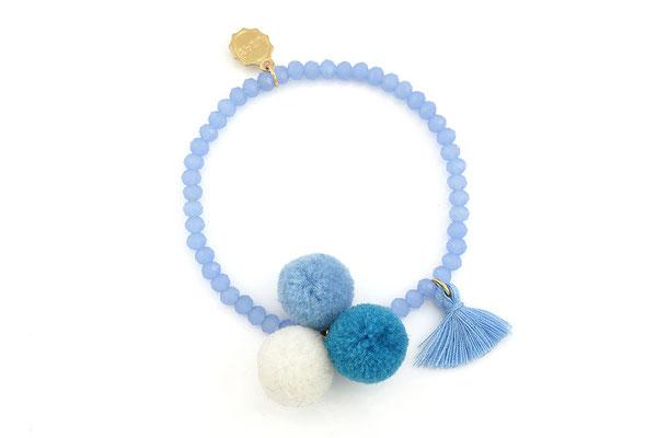 "Armband ""Triple Pom Pom"", blue 16€"