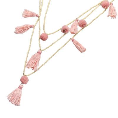 """Kette """"Pom Pom loves Tassel"""" soft pink/white 28€"""