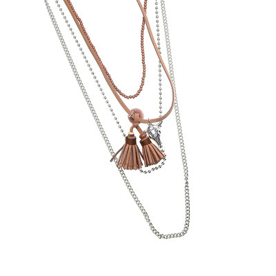 "Kette ""Buffalo in Layers"" silver/brown 28€"