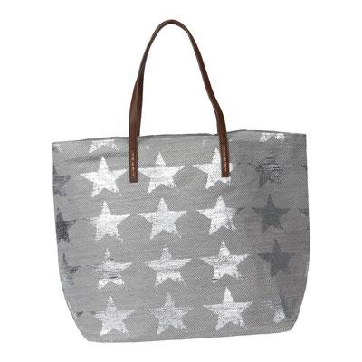 Bag Hampton Star, grey/silber, mit Zipper und Innentasche, 34,90€