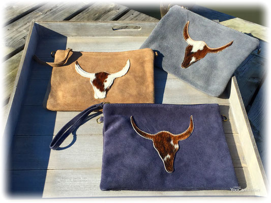 "Rauhlederclutch ""Buffalo"", inkl  langem Gurt navy, grey, cognac 49€ On SALE minus 30%"