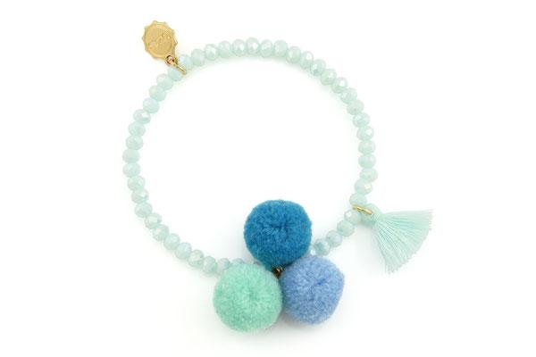 """Armband """"Triple Pom Pom"""", light blue 16€"""