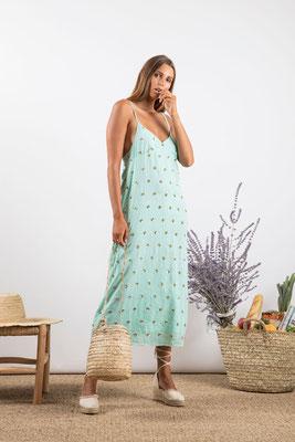 Dress Madeline, aqua/silber bestickt, 100% Viskose gefüttert, in Gr XS/S und M/L,  182€