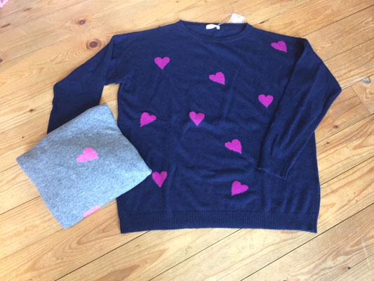 """Pulli """"Herzilein"""", one size, grey/pink, navy/pink,  49,90€"""