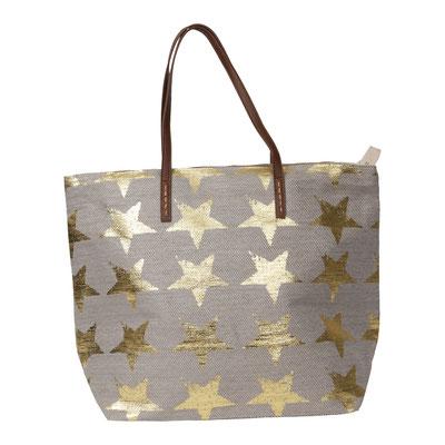 Bag Hampton Star, beige/gold, mit Zipper und Innentasche, 34,90€