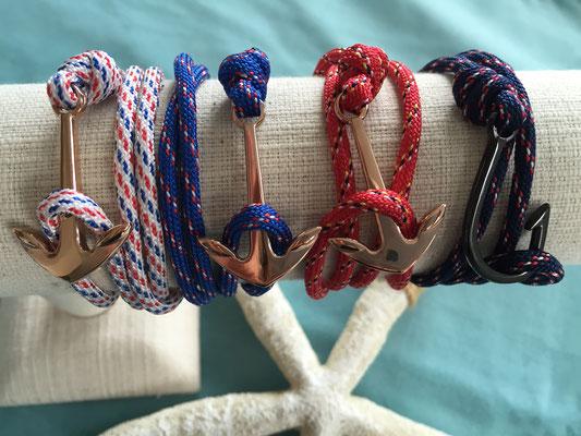 """Unisex Armband """"Anchor"""" rosegold, blue, white, red , Armband """"Fishook"""" in dark blue 19€"""