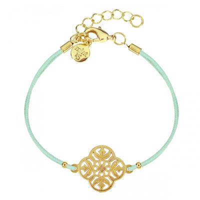 Bracelet Flower Mint gold  14€ mit türkisem oder grauem Band