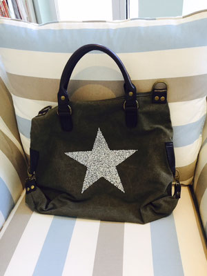 Canvas Bag Star olivegrün mit langem Gurt incl 49€ On SALE minus 30%