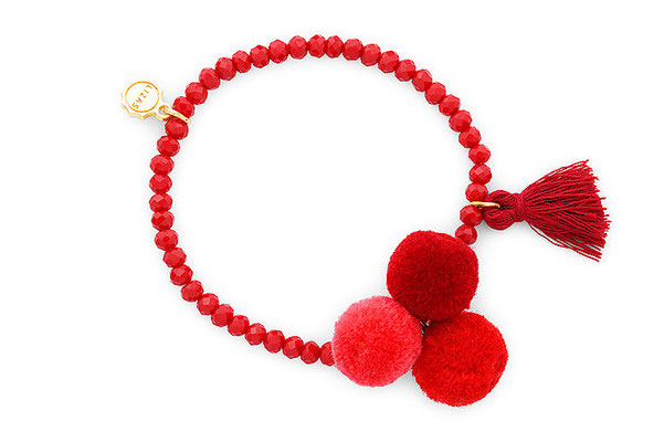 "Armband ""Triple Pom Pom"" red 16€"