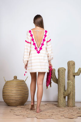 Dress/Tunika Billie sand Stripes/fuschia, mit Bindegürtl in Size XS/S und M/L   149€