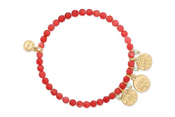 """Armband """"Tibet"""" coral/gold  16€"""