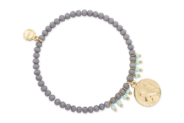 "Armband ""Tibet"" grey/lila/gold  16€"