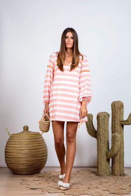 Dress/Tunika Billie coral Stripes/Flamingo, mit Bindegürtel in Size XS/S und M/L   149€