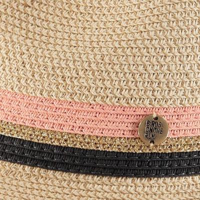 """Hut """"Birds on the Run Riviera"""", beige/soft pink/black, 100% Paper, Gr 57cm mit Band grössenverstellbar, 49,95€"""