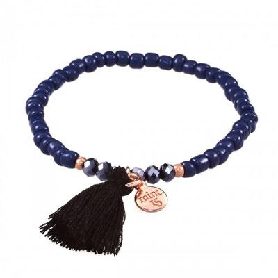 Bracelet Black Tassel/blue in silver or rose gold 14€