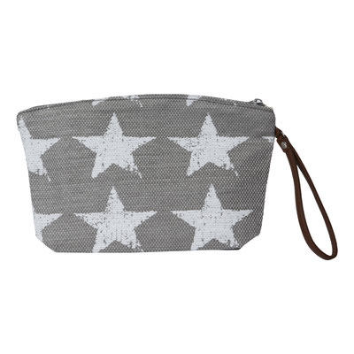 Clutch Hampton Star, grey/white, mit Zipper, 16,90€