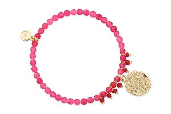"Armband ""Tibet"" pink/red/gold  16€"