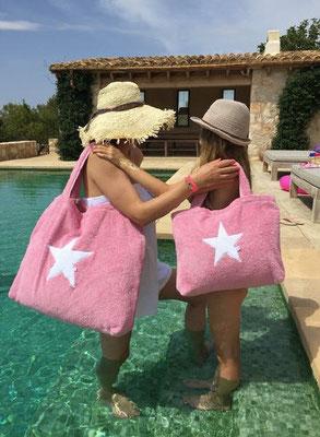 Poolbag soft pink, Stern white, Maße: Höhe 33 cm, Breite 45 cm, Höhe 55 cm mit Träger Waschbar bei 30°C, 79€ sold out