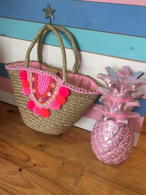 "Strandkorb ""Beach Pom Pom"" pink, Size M   54€"