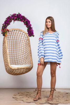 Dress/Tunika Billie light blue/Stripes/neon coral, mit Bindegürtel in Size XS/S    149€