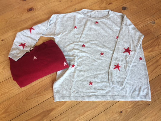 """Pulli """" Sternenhimmel"""", one size, lightgrey/red, red/white  49,90€"""