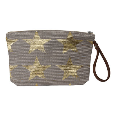 Clutch Hampton Star, beige/gold, mit Zipper, 16,90€