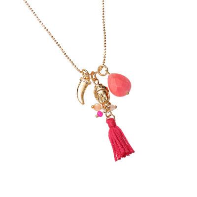 "Kette ""Fine Buddha"" coral/gold 19€"