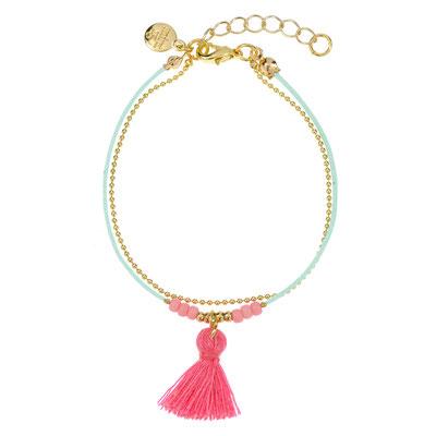 "Armband ""Pink Tassel"" mint, nur  in silber  14€"