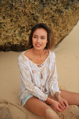 "Tunika ""Peace/Heart"", sand, 100% Viskose, handmade, Gr S/M(sold out)/L  119€"