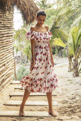 Dress Ubud, red bouquet, one size, 100% Modal,   139€