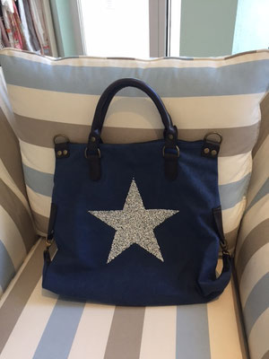 Canvas Bag Star navy/dunkelblau mit langem Gurt incl 49€ On SALE minus 30%