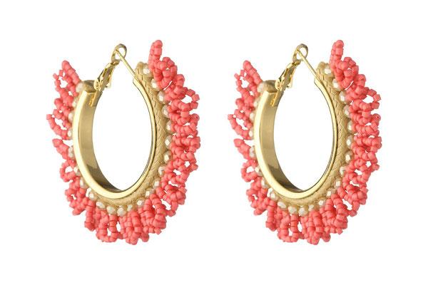 "Ohrringe ""Hortensie"" coral/gold, 34€"